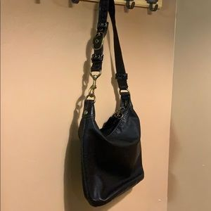 EUC Black leather Coach bucket bag, brass hardware